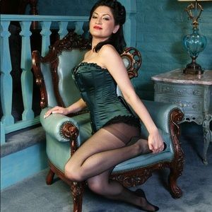 Other - (Small) Emerald green Satin Corset with ruffles